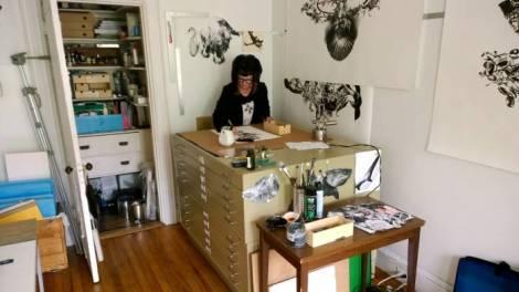 Stacy Howe in her studio in Portland, Maine.